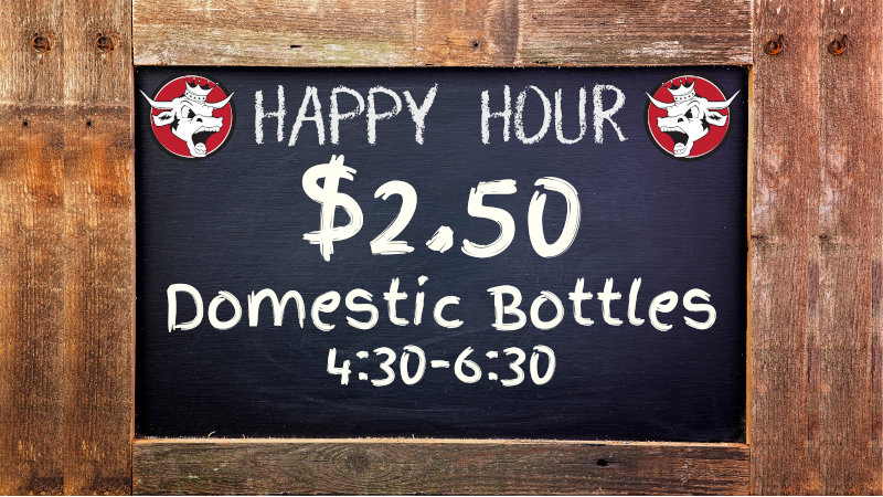 Buena Happy Hour $2.50 Domestic Bottles All Week Long