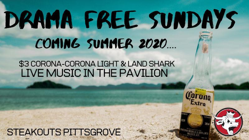 DRAMA FREE SUNDAYS coming summer 2020. Corona & Land Shark specials. Live music in the pavilion