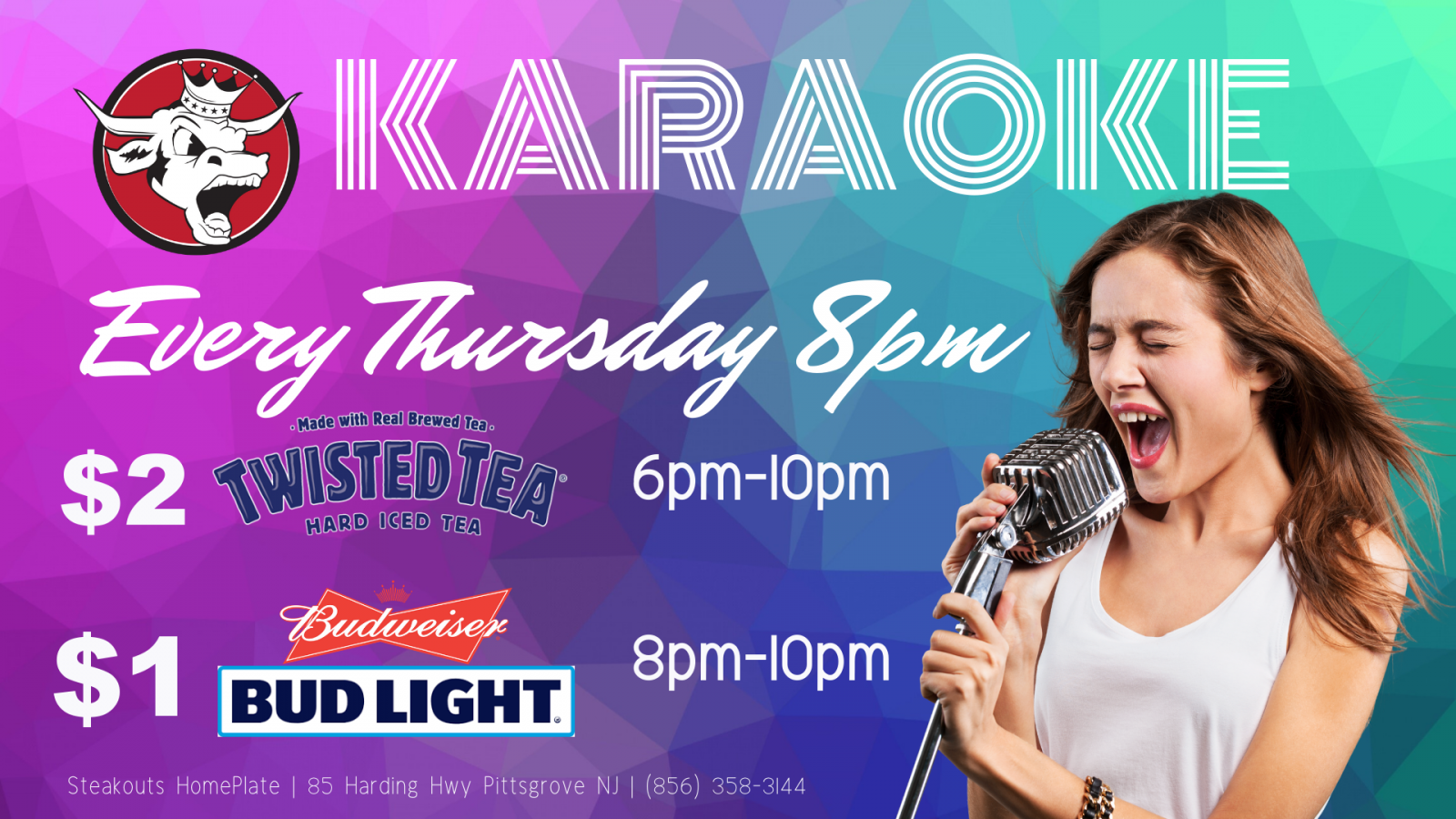 Thursday Karaoke Night at 8pm EST. Twisted Tea, Bud and Bud light specials